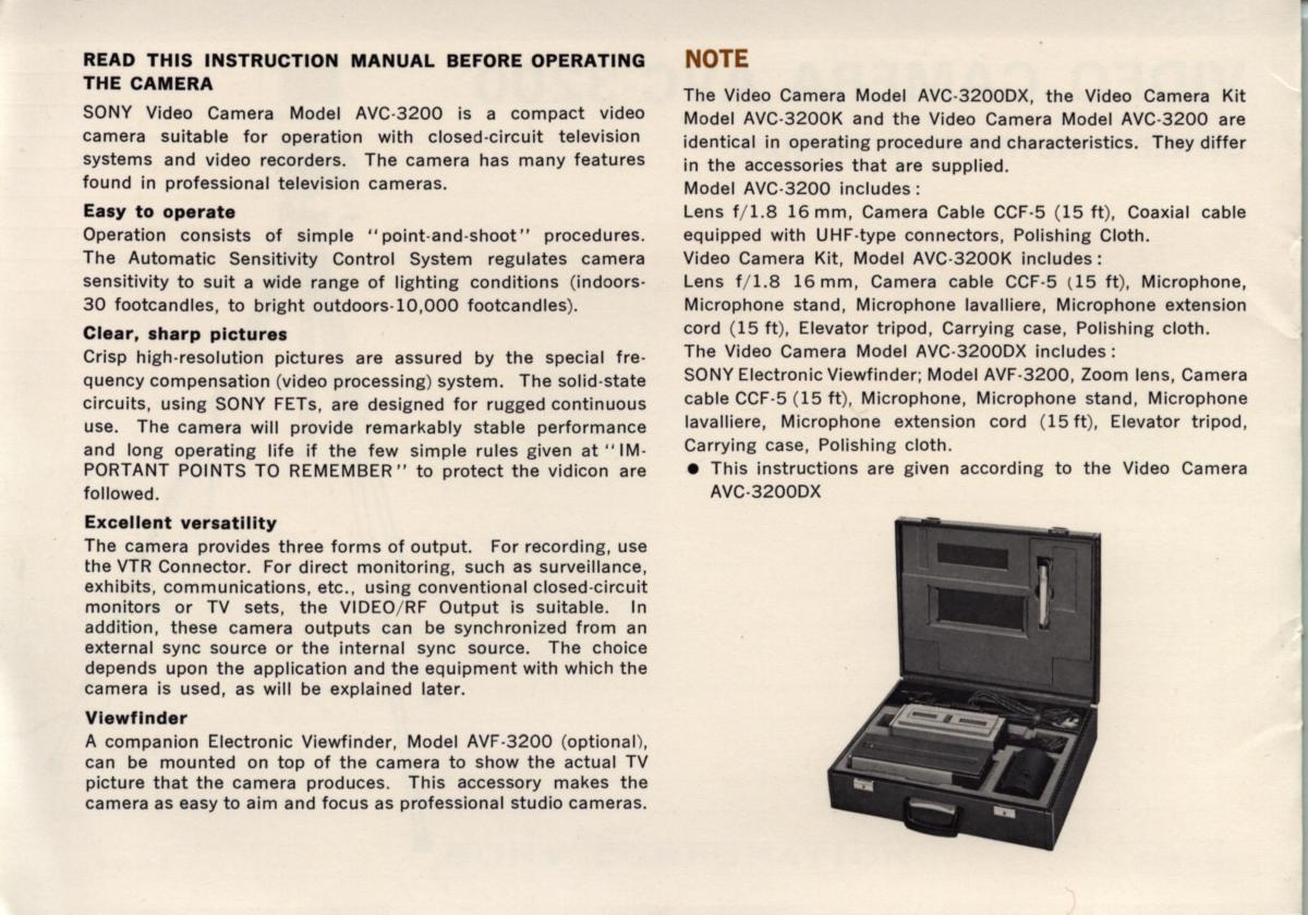 Labguys World Sony Avc 3200 Video Camera Owners Manual Circuit Diagram