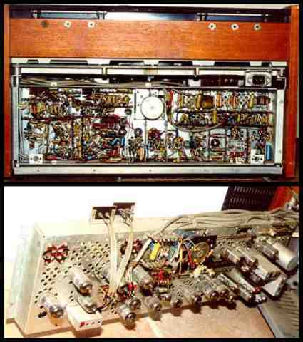 EL-3400 rear view showing chassis and many vacuum tubes