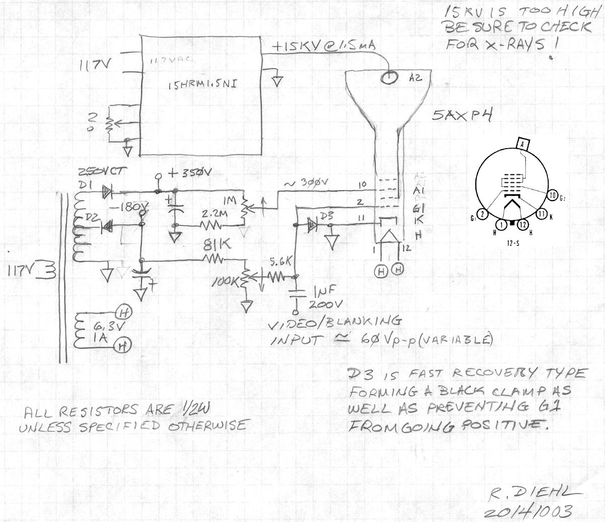 Labguys World Cyclops The 5axp4 Project Fuse Box Video Tube First Schematic Shows Scope Tv Crt Electron Gun Voltage Divider This Is Powered By Emco 3kv High Brick Power Supply