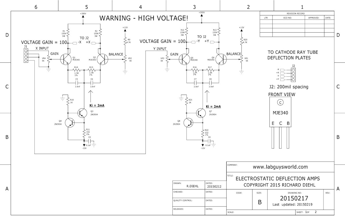 Labguys World Electrostatic Crt Deflection Amplifier Monitor Schematic Diagram Datasheet Application Note Amp And Bias Schematics 20150217