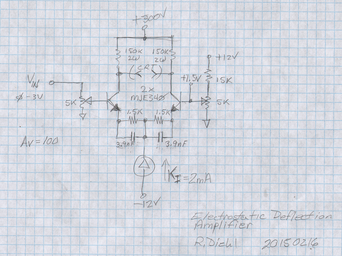 Labguys World Electrostatic Crt Deflection Amplifier Simple Cathode Ray Tube Diagram Inside A